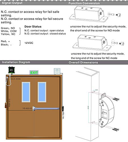 UHPPOTE Electric Strike Lock for Access Control Fire Exit Emergency Door Panic Push Bar by UHPPOTE (Image #5)