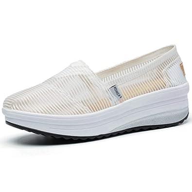 21a021496a JOYBI Women's Mesh Platform Walking Shoes Comfort Lightweight Casual Slip-on  Fitness Work Out Sneakers