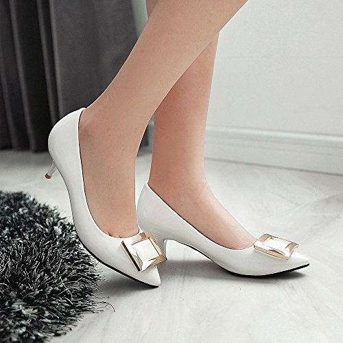 MINIVOG Womens Square Buckle Patent Faux Leather Kitten Heel Shoes White ijFmgw