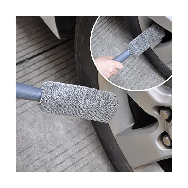 Car Wheel Cleaning Brush Kit AutoEC 2 Tire Rim Scrub Brush Soft Alloy Brush Cleaner 1 Premium Metal Free Wheel Rim Brush Use For Auto Motorcycle Bike Wheel Cleaning
