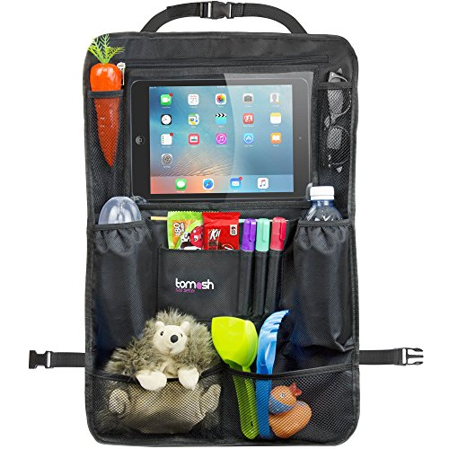 Backseat Organizer with Tablet Holder - Adjustable Straps for Universal Fit - Insulated Drink Pouches, Storage Pockets for Books, Snacks, Wipes - Car Organizer for Kids & Toddlers by Tomash, 24x16.5