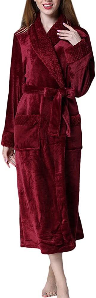 TALLA S. Zhhlaixing Winter Thick Warmth Unisex Bata de baño Pajamas Hombres Mujer Comfy Soft Flannel Long Nightgown,Solid Color