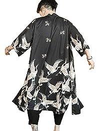 Men Japanese Kimono Coat Loose Yukata Outwear Long Bathrobe Tops Vintage