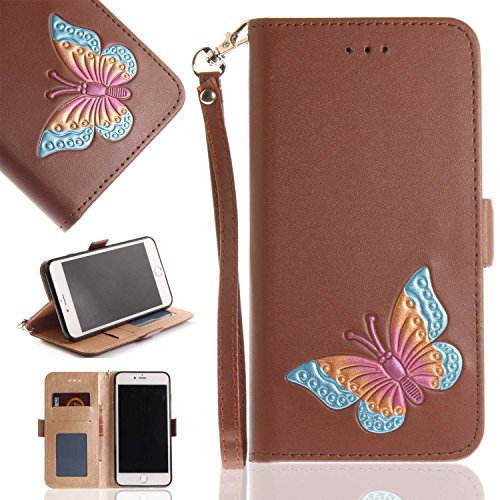 iPhone 7 Plus/iPhone 8 Plus Case, UNEXTATI Butterfly Embossing Design PU Leather Flip Wallet Cover Case with Card Holder for Apple iPhone 7 Plus/iPhone 8 Plus (Brown #4)