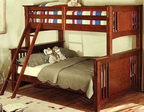 Furniture of America with with Trundle Bunk Bed, Twin Full, Dark Oak