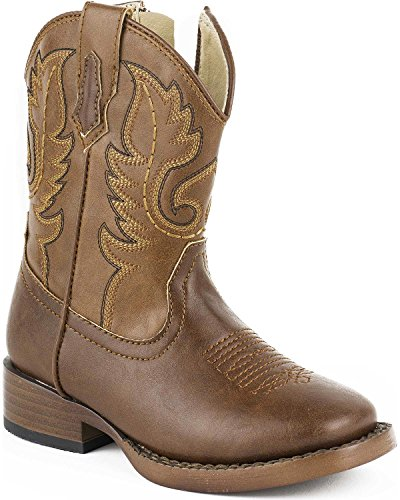 Roper Texson Square Toe Classic Cowboy Boot (Toddler/Little Kid), Brown, 6 M US Toddler