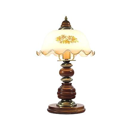 Lámparas de escritorio Lámpara de mesa de madera de vidrio ligero ...