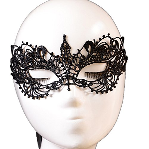 Eye Mask, Misaky Masquerade Lady Black Lace Floral Venetian Fancy Party Dress Mask (Black)