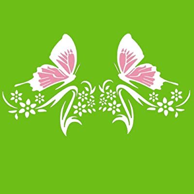 Practisol Car Decals for Women,1 Set Butterfly and Flower Car Decal Stickers, Vinyl Car Graphics Side Hood Decals for Cars/SUV, Universal Scratch Hidden Car Sticker (Pink White): Automotive