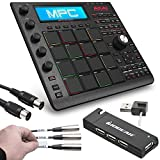 Akai Professional MPC Studio Black Music Production Controller with 7+GB Sound Library Download + MID-305 Black MIDI Cable + 4 Port USB 2.0 Hub + Label A Cable Kit - Top Value Akai Accessory Bundle
