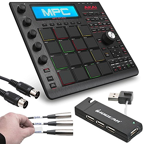 Akai Professional MPC Studio Black Music Production Controller with 7+GB Sound Library Download + MID-305 Black MIDI Cable + 4 Port USB 2.0 Hub + Label A Cable Kit - Top Value Akai Accessory Bundle (Akai Mpc Sampler)