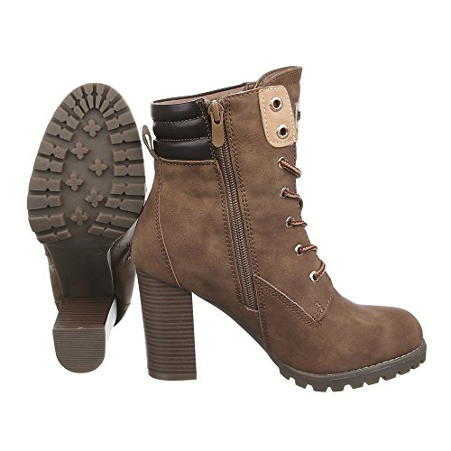 Ital-Design Women's Boots Kitten Heel Lace-up Ankle Boots Light Brown 7X8nbL