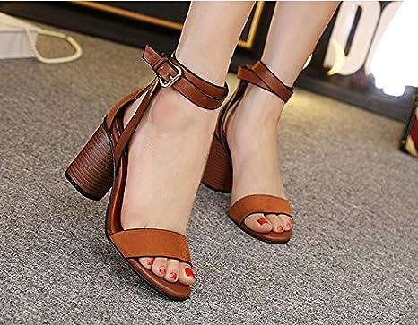 GS~LY Scarpe tacco alto donna Sandali aprire grezzo di punta con fibbia, sandali , dark brown , 38 GSS~LY