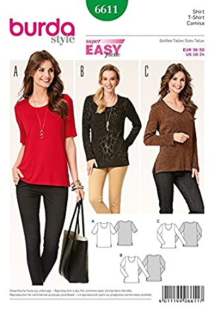 Burda Damen Schnittmuster 6611 T-Shirts & Long Sleeve Tops: Amazon ...