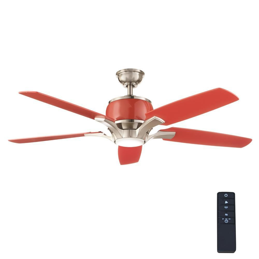 Red raymont 52 in integrated led indoor brushed nickel and red ceiling fan with light kit and remote control amazon com industrial scientific