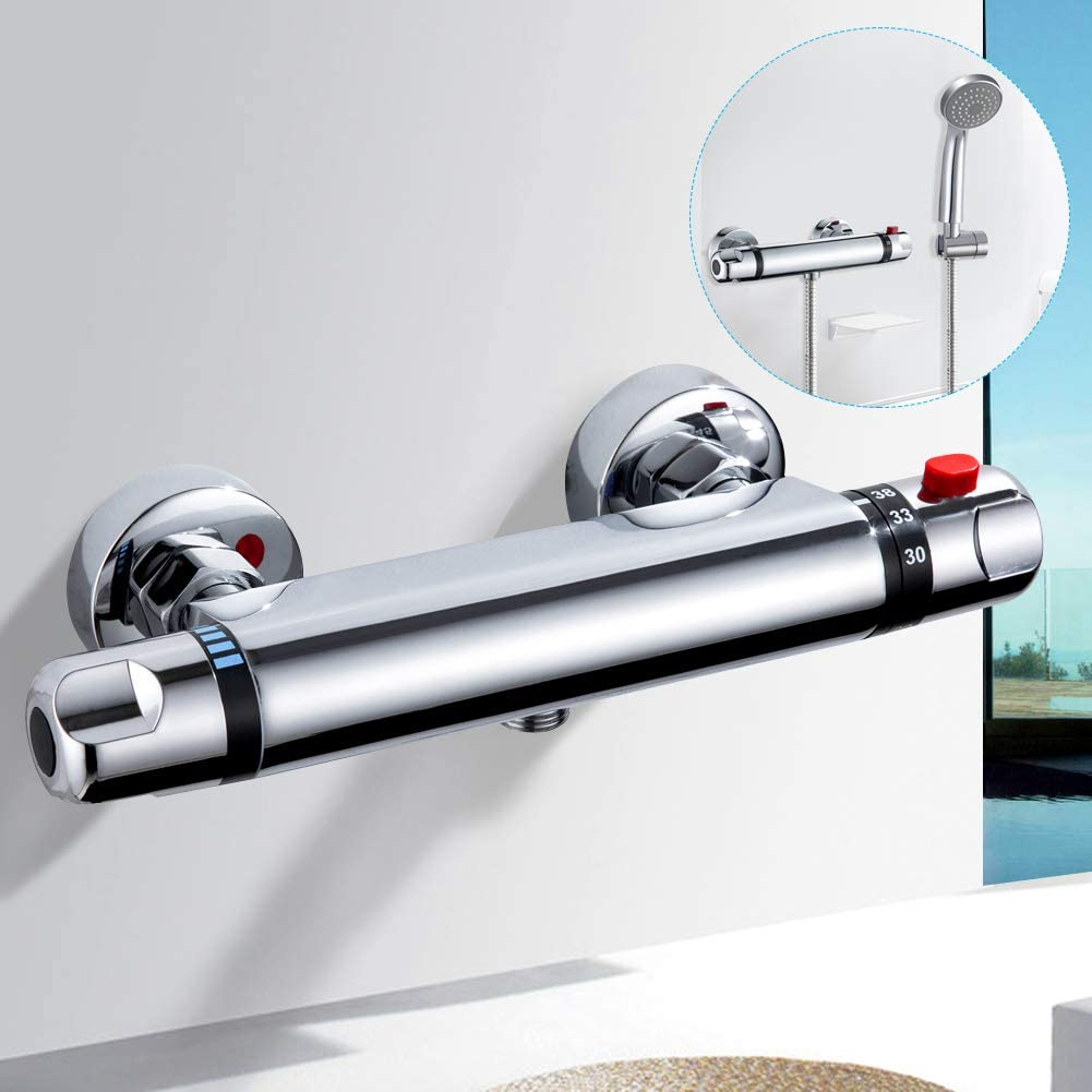 kisimixer Thermostatic Shower Mixer Modern Thermostatic Bar Shower Mixer Valve Anti Scald Tap, Hot Cold Water Mixer Constant Temperature Control for Bathroom Chrome