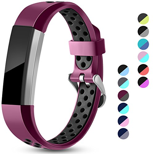 Maledan Replacement Bands Compatible for Fitbit Alta, Fitbit Alta HR and Fitbit Ace, Accessory Sport Bands Air-Holes Breathable Strap Wristbands with Stainless Steel Buckle, Fuchsia/Black, Large