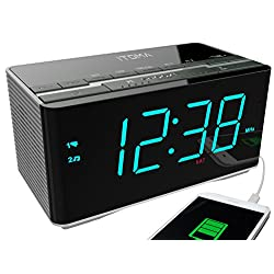 (Upgraded) iTOMA Bluetooth Speakers with Alarm Clock Radio, Dual Alarm, Auto Time Setting, Digital FM Radio, Snooze, Auto Dimmer, Cell Phone Charger, Auxiliary Input (CKS3501BT)