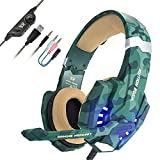 EasySMX Gaming Headset for PS4 Professional 3.5mm PC LED Light Game Bass Headphones Stereo Noise Isolation Over-ear Headset with Mic Microphone for PS4 Laptop Computer and Smart Phone-Camouflage Review