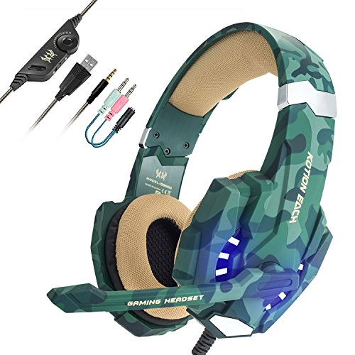 EasySMX Gaming Headset for PS4 Professional 3.5mm PC LED Light Game Bass Headphones Stereo Noise Isolation Over-ear Headset with Mic Microphone for PS4 Laptop Computer and Smart Phone-Camouflage