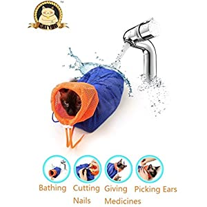 CatYou Cat Grooming Bag Puppy Dog Cleaning Polyester Soft Mesh Scratch & Biting Resisted for Bathing Injecting Examining… Click on image for further info.
