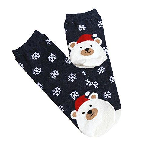 - Hattfart Christmas Crew Socks, Printed Fun Colorful Festive, Crew Sock Women Colorful Fancy Design Soft (Navy)
