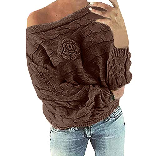 (Women's Knitted Pullover,Womens Multicolor Striple Flower Sweater Casual Knitted Long Sleeve Pullover)