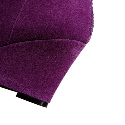 Amoonyfashion Femmes Matériaux Mélangés Ronds Bout Fermé Bottes Solides Violet
