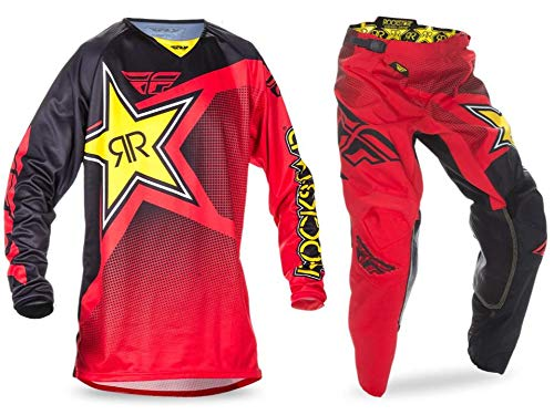 New Fly Racing Kinetic Rockstar Energy Mesh Jersey & Pants Combo Set MX ATV Riding Gear (2X / 36)