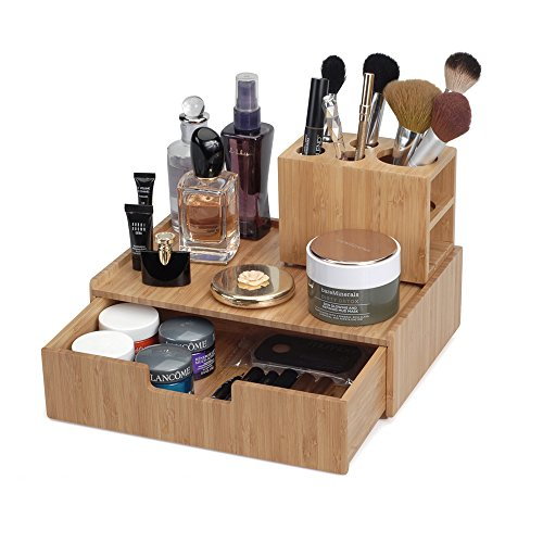 MobileVision Bamboo Makeup Drawer Organizer with 5-Compartment Brush Holder Stand Combo