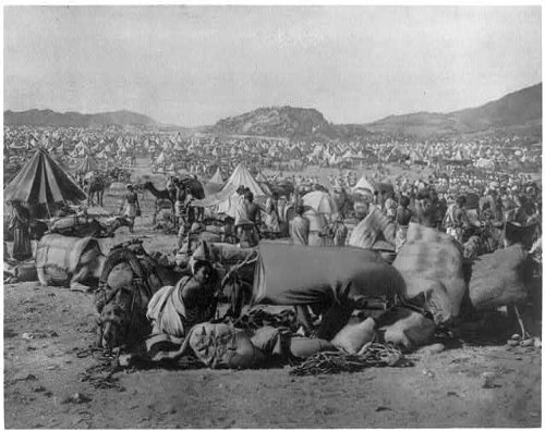 HistoricalFindings Photo: Moslem Pilgrims camping,many tents,camels,mountains,Mecca,1889