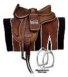 HR, International Synthetic Treeless FREEMAX English Horse Saddles Tack, with Handle + Girth, Leather Straps, Aluminium Stirrups & Navajo Saddle Pad Size 14′ to 18″' Inch