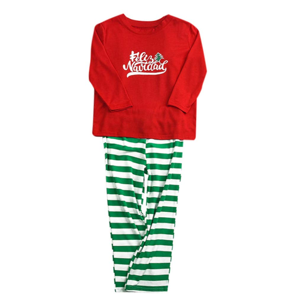 Voberry Christmas Pajamas for Family Matching Striped Pajamas Set Sleepwear for Dad Mom Baby Kids by Voberry@123
