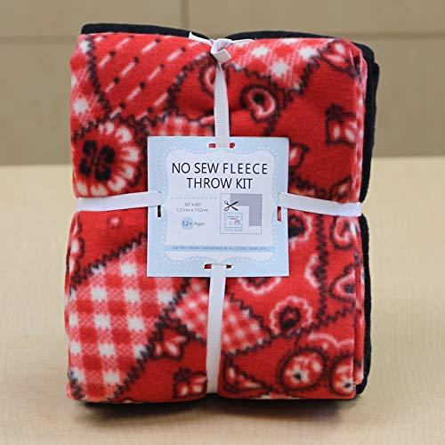 Buckaroo Bandana No-Sew Throw Fleece Fabric Kit (50x60)