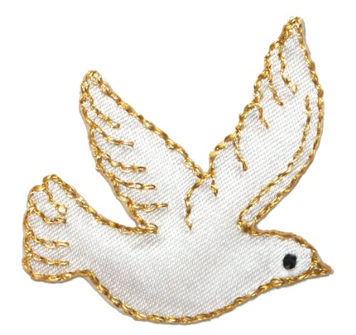 Love Birds Applique (ID #0623 Flying White Dove Peace Love Bird Embroidered Iron On Applique Patch)