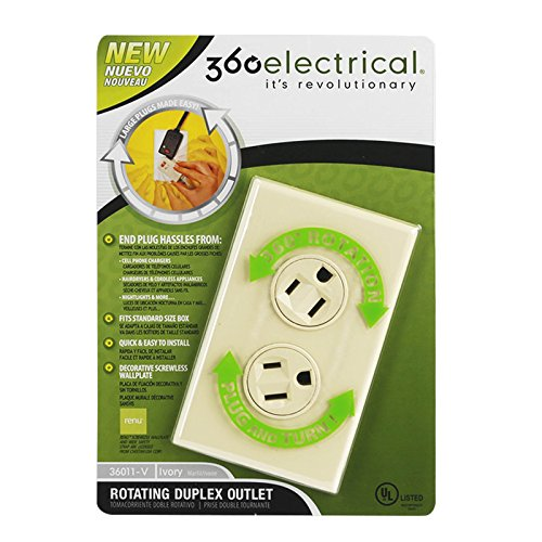 360 Electrical Rotating Duplex Outlet For Large Bulky Plugs – Ivory -UL Listed Easy Install Cables Unlimited Surge Protector