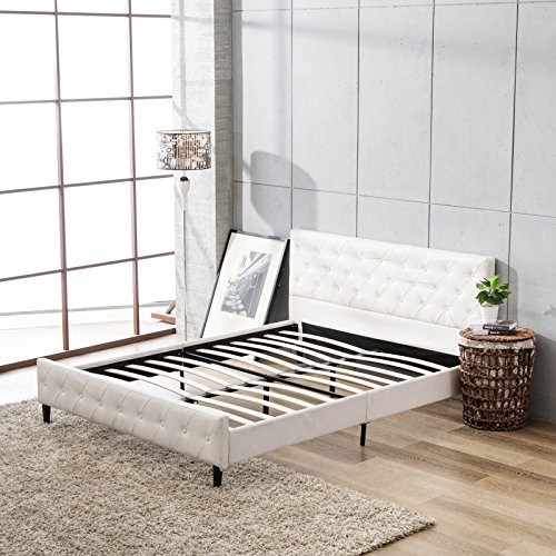 Full Bed White (Mecor PU Upholstered Faux Leather Platform Bed Metal Frame Wooden Slats Support,Home Dorm Apartment,Full White)
