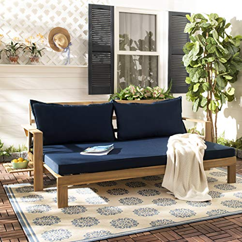 Outdoor Teak Patio Sun Lounger - Safavieh PAT6748B Outdoor Collection Hammett Teak and Navy Double Sun Lounger with Pullout Table Lounge Chair, Natural