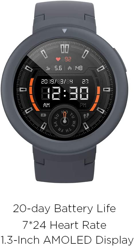 Amazfit Verge Lite Smartwatch by Huami with 20-Day Battery Life,24/7 Heart Rate 1.3 Inch AMOLED Touchscreen IP68 (Shadow Grey)