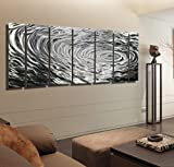 Extra Large Silver Modern Hand-Etched Metal Wall Art Decor- Ripple Effect XL by Jon Allen