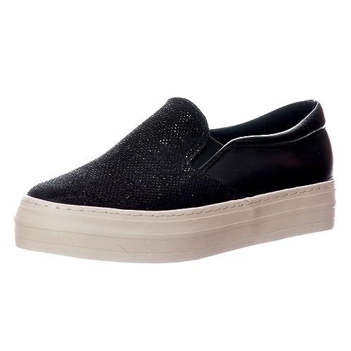 Onlineshoe Glitter Plano Mocasines Zapatos Mujer - Negro Brillo, Plata Brillo: Amazon.es: Zapatos y complementos