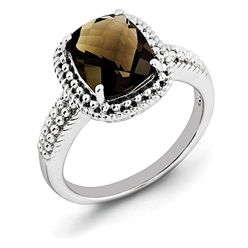 Cushion Cut Smoky Quartz & Milgrain Sterling Silver Ring, Size 5