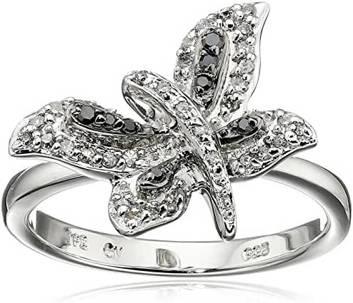 Sterling Silver Black and White Diamond Dragonfly Ring (1/5 cttw, I-J Color, 12-13 Clarity)