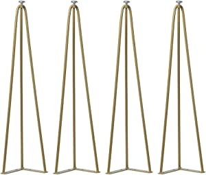 28 Inch Hairpin Legs Set of 4,Industrial Metal Coffee Table Legs,Mid Century Modern Furniture Legs,Tall Iron End Table Legs,Heavy Duty Coffee Table Set(Gold)