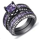 Purple Diamond Princess Cut 18K Black Gold Plated Engagement Ring Set