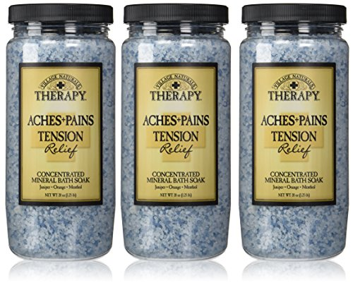 Village Naturals Therapy, Mineral Bath Soak, Aches & Pains Tension Relief, 20 Oz, Pack of - Natural Mineral Soak Salts