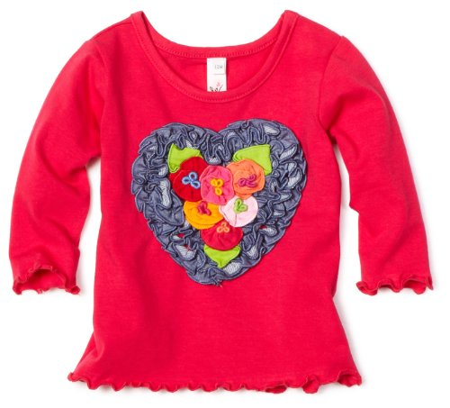 Love U Lots Baby Girls' Heart With Flowers Ruffle Tee