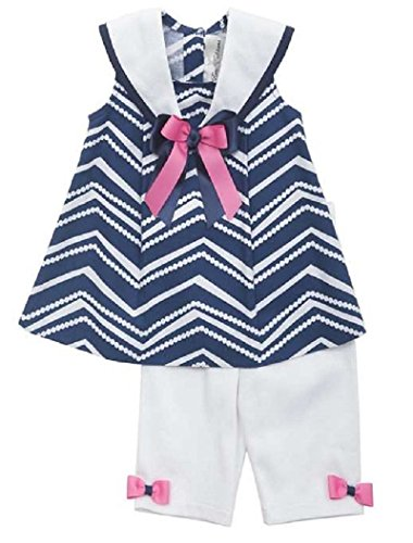 Rare Editions Little Girls' Navy White Zigzag Sailor Nautical Capri 2-pc outfit, Pink, 24M