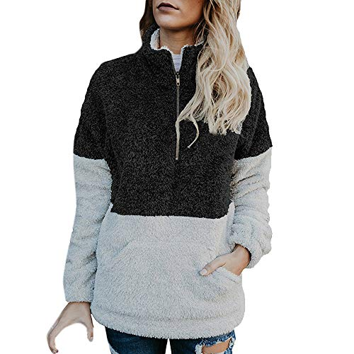 Dressin Women Long Sleeve Zipper Sherpa Sweatshirt Soft Fleece Pullover Outwear Coat (Marshall Plastic Jacket)