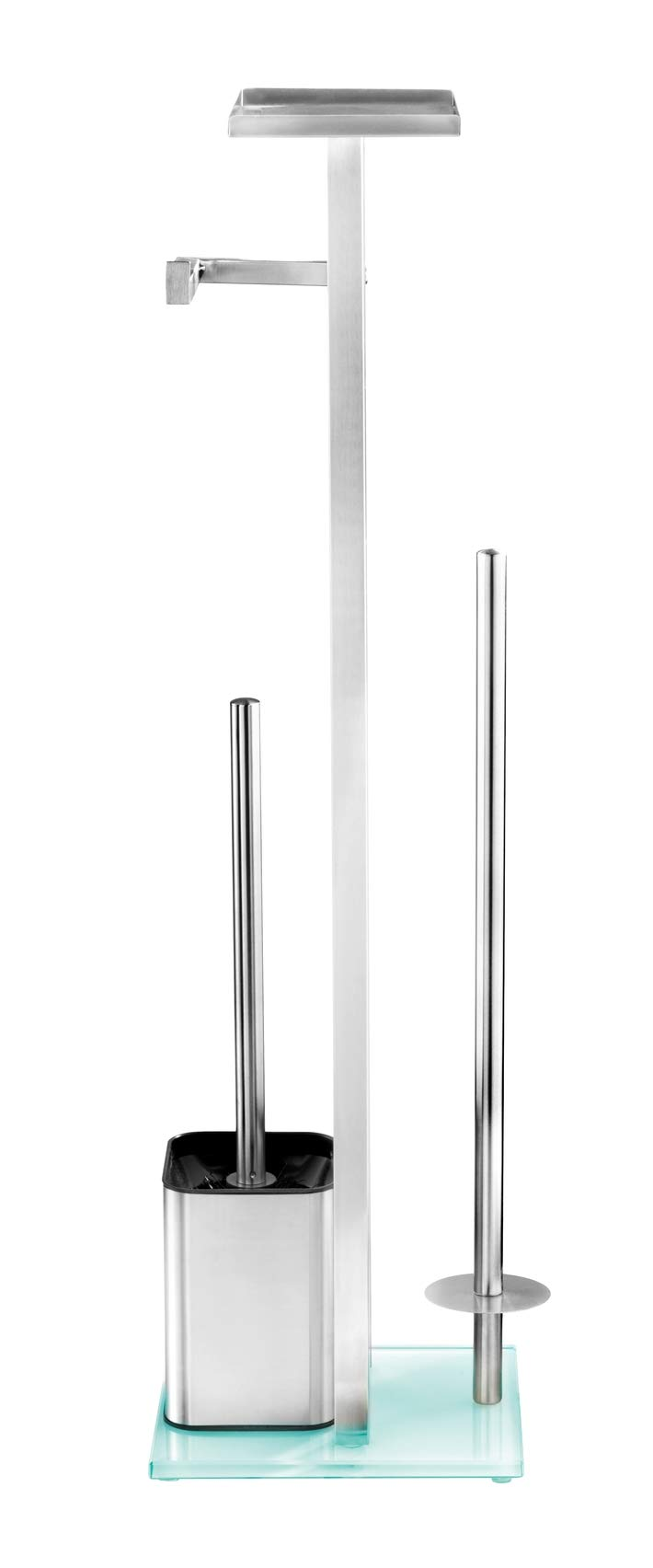 WENKO 23364100 Freestanding Toilet Brush with Rack Debar 8.3 x 27.8 x 7.1 inch Satinised